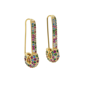 fashion earring for women 2019 latest new design micro pave rainbow cubic zirconia cz safety pin stud earrings