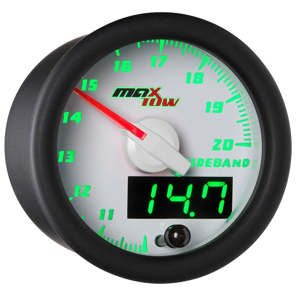 MaxTow White & Green Wideband Air/Fuel Ratio Gauge with Oxygen Sensor & Data Logging Controller