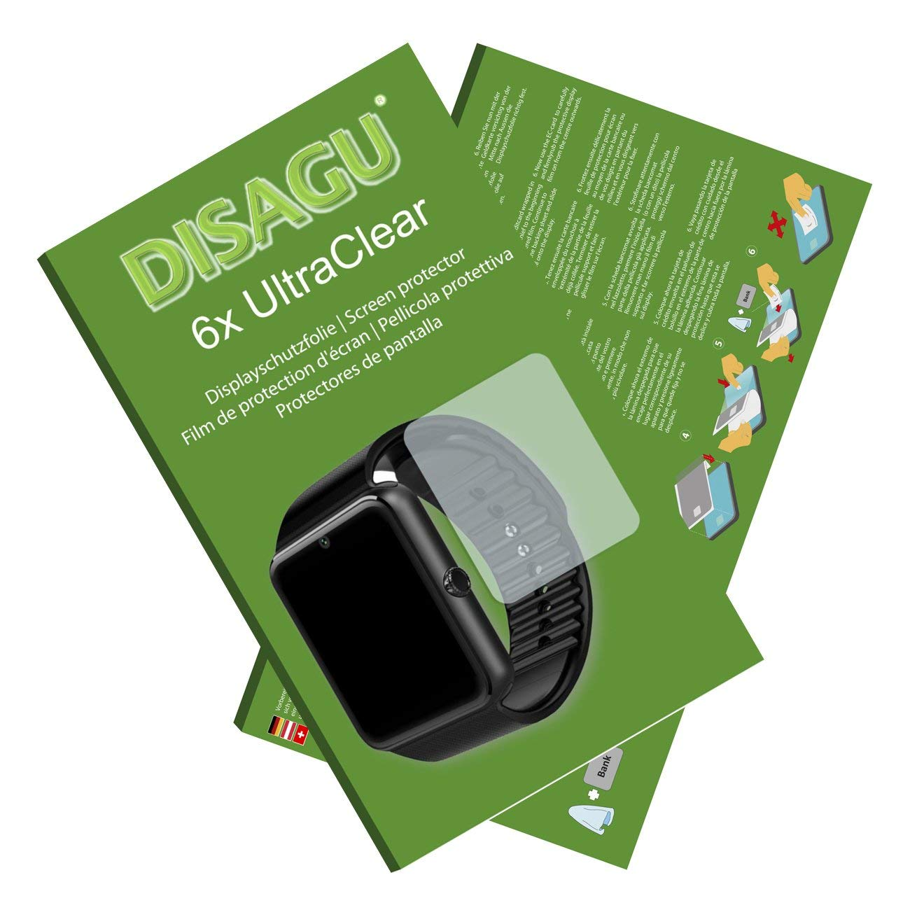 "DISAGU 6x Ultra Clear Screen Protector for LaTEC 1.54"" Bluetooth Smart Watch (intentionally smaller than the display due to its curved surface)"