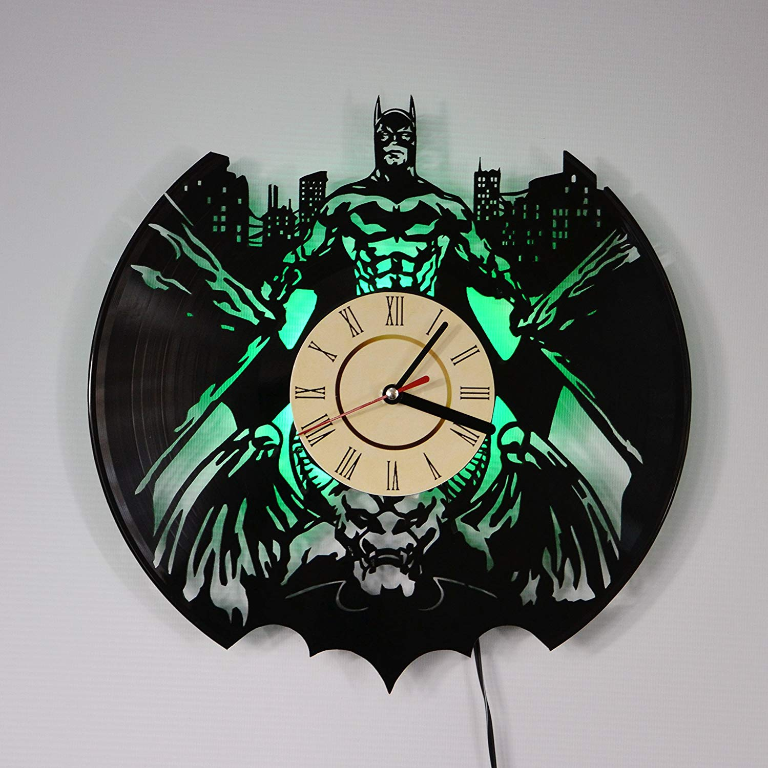 BATMAN Green LED Backlight Vinyl Wall Clock Night Color Change Atmosphere Light Lamp Creative Classic Cool Living Room Interior Decor Led Time Clock With Color Red Light