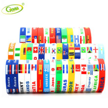 2018 World Cup Customized Promotional Wholesale Country Flags Silicone Bracelet