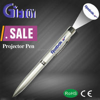 Best LED promotion gift metal logo projector pen