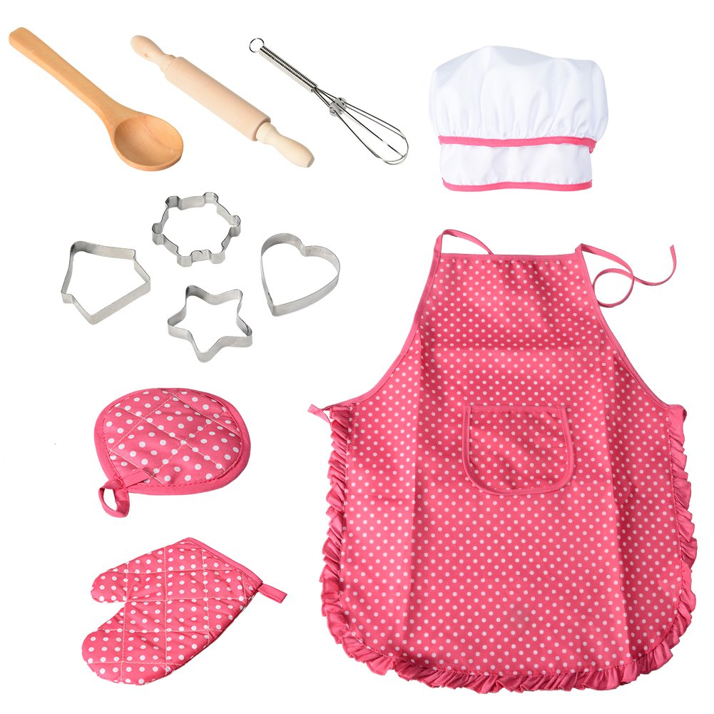 Funslane 11 Pcs Kids Cooking and Baking Set with Apron for Girls, Chef Hat, Oven Mitt, and Other Cooking Utensils for Toddler Chef Career Role Play, Children Dress up Pretend Play, Great-Gift