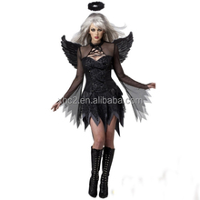 Halloween Devil Costume Women Sexy Dark Angel Costume Dress With Wing Cosplay Performance Clothing, Chest: within 94cm