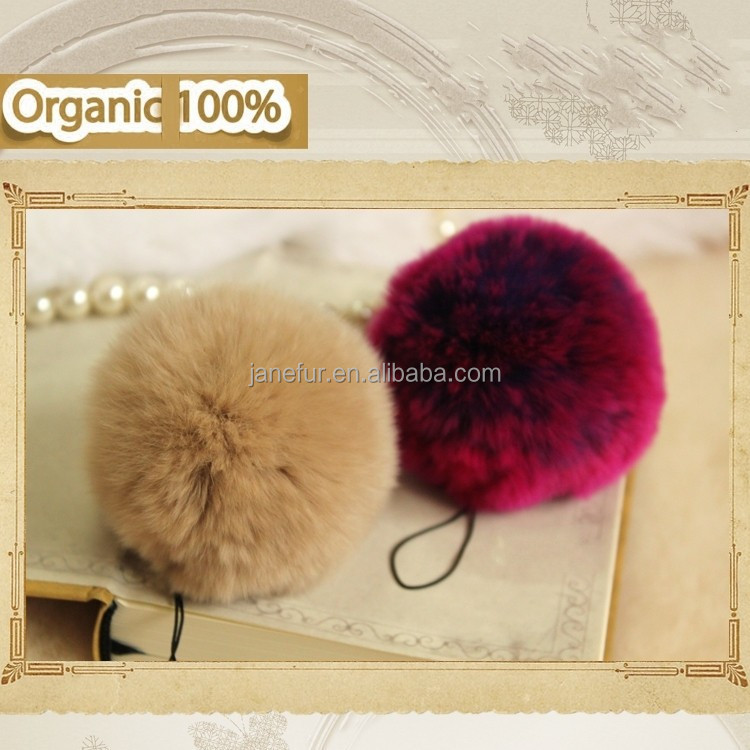 Soft Rex rabbit fue ball phone case chain/ True rabbit fur pompon pendant
