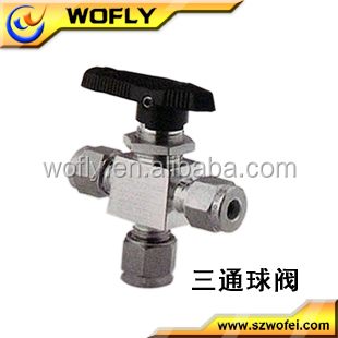Water Industrial 1/4NPT manual three way valve