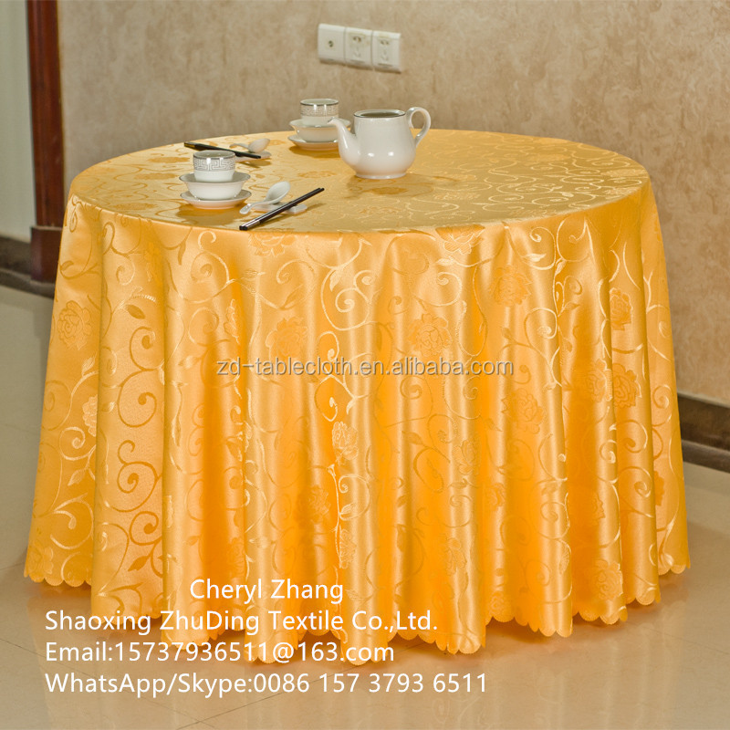 Polyester Gold Yellow 120 Inch Jacquard Round Tablecloths Damask Wedding Table Covers