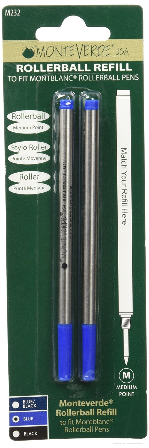 Montblanc Compatible Medium Rollerball Refill by Monteverde - Blue ( Pack of 2) by Unknown