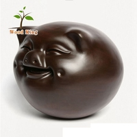 Manufacturers Wholesale Carve Polish Ebony Wood Carving Smiling Pig Lovely Home Gift Crafts Dongyang Wood Carving