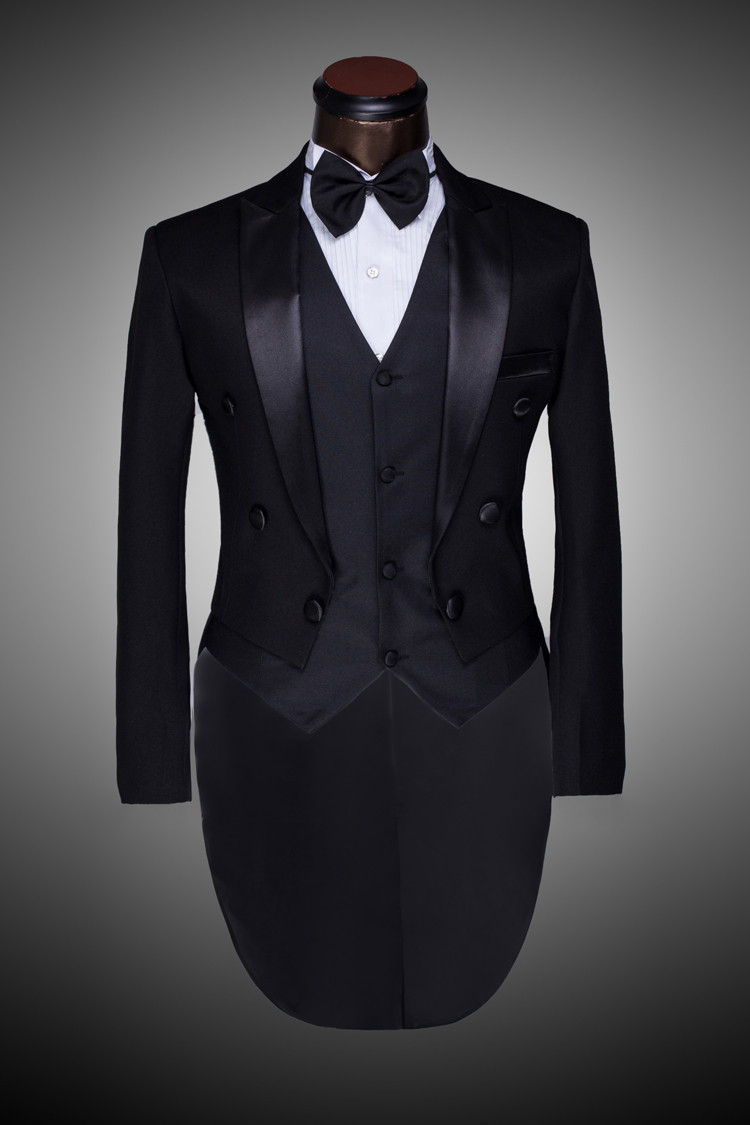 Male Custom Groom Prom Suit Mens Tuxedo Black And White