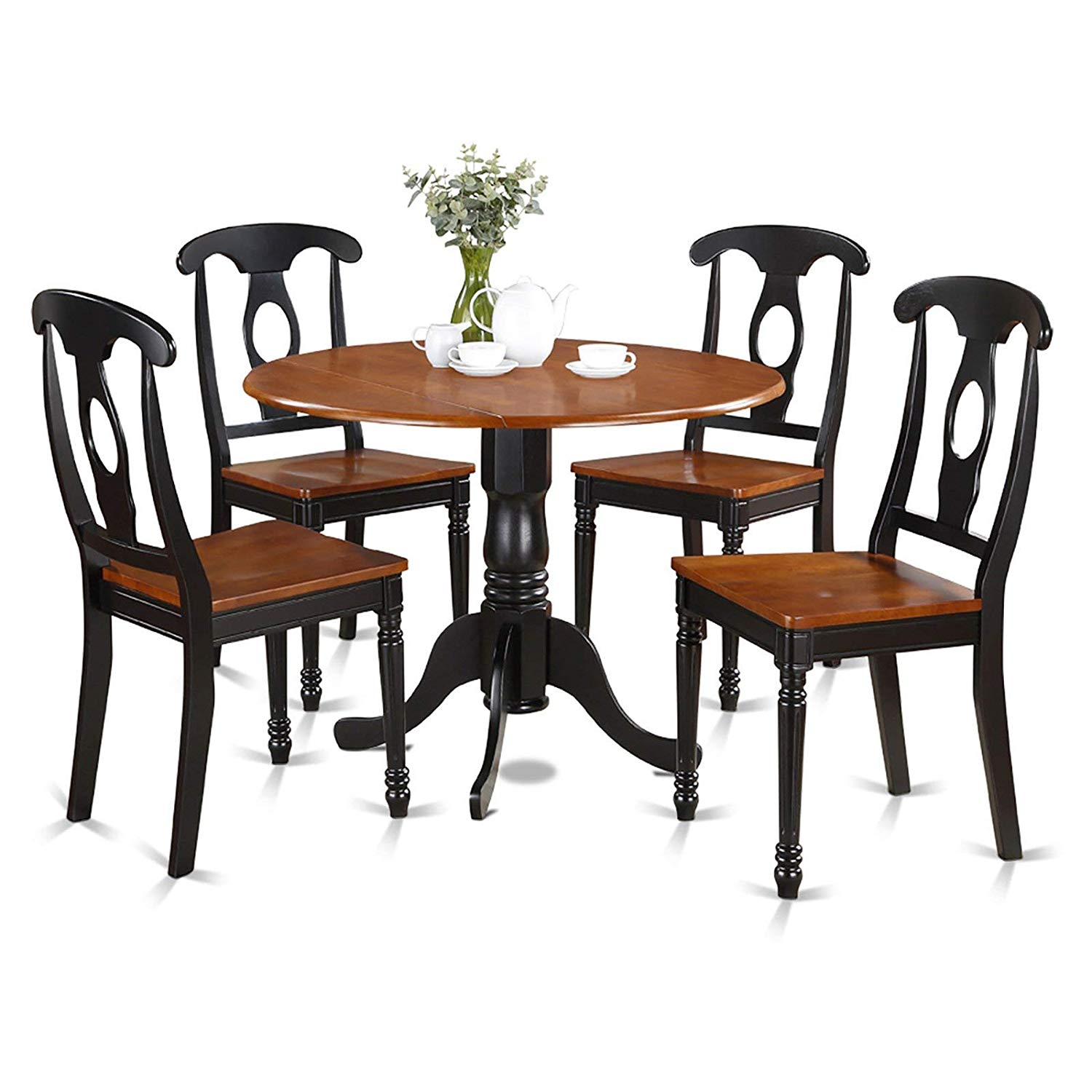 "5 Piece Dining Table Set with Wooden Seat Chairs, Solid Asian Hardwood, 2 9"" Drop Leaves, Contoured Wood Seat, Keyhole Chair Backs, Turned Pedestal Table Base, Black / Cherry Finish + Expert Guide"