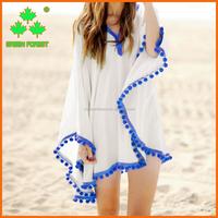 chic pom pom trim beach resort wear