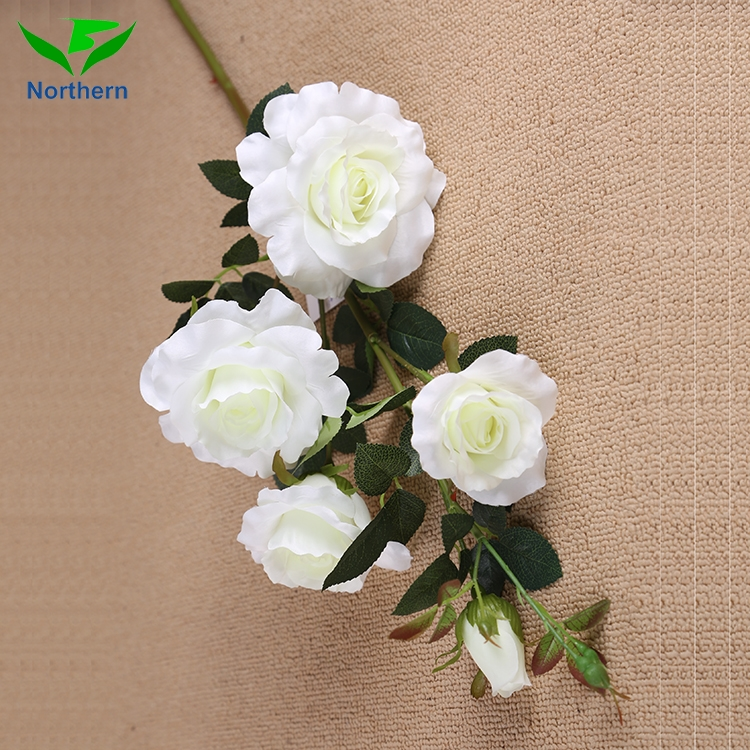 Factory direct Artificial Flower long stem artificial silk rainbow roses flower fabric