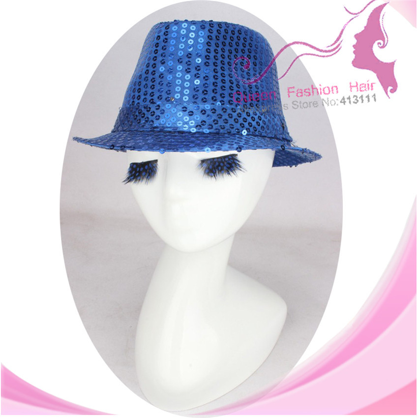 e5ca6e4d02ae7 Get Quotations · Unisex Royal Blue Hat with LED Flashing Light Up Sequins 9  Lights for Christmas Holiday Fedora