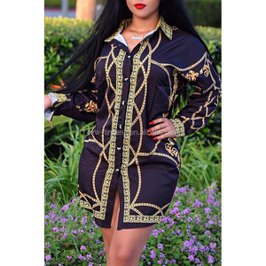 Women Button Down Printed Mini Beach T Shirt Dresses Arabic Party Dress