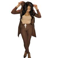 Hot Sale Fashion Casual Brown Outfits European Style Clothing Women 2 Piece Zipper Coat Crop Top and Pants Set Sportswear EL0223