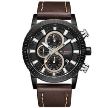 Мужские кварцевые наручные часы ARMIFORCE, деловые часы с кожаным ремешком, спортивные часы с датой(Китай)