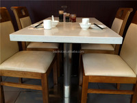 kitchen furniture artificial marble dinning table with stainless steel legs