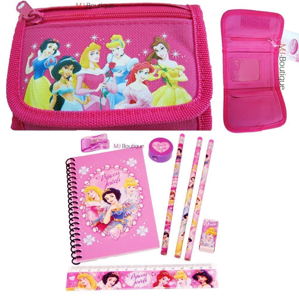 Pink - Disney Princess Wallet Trifold FREE Princess Stationary Set - Kids Girls Gift