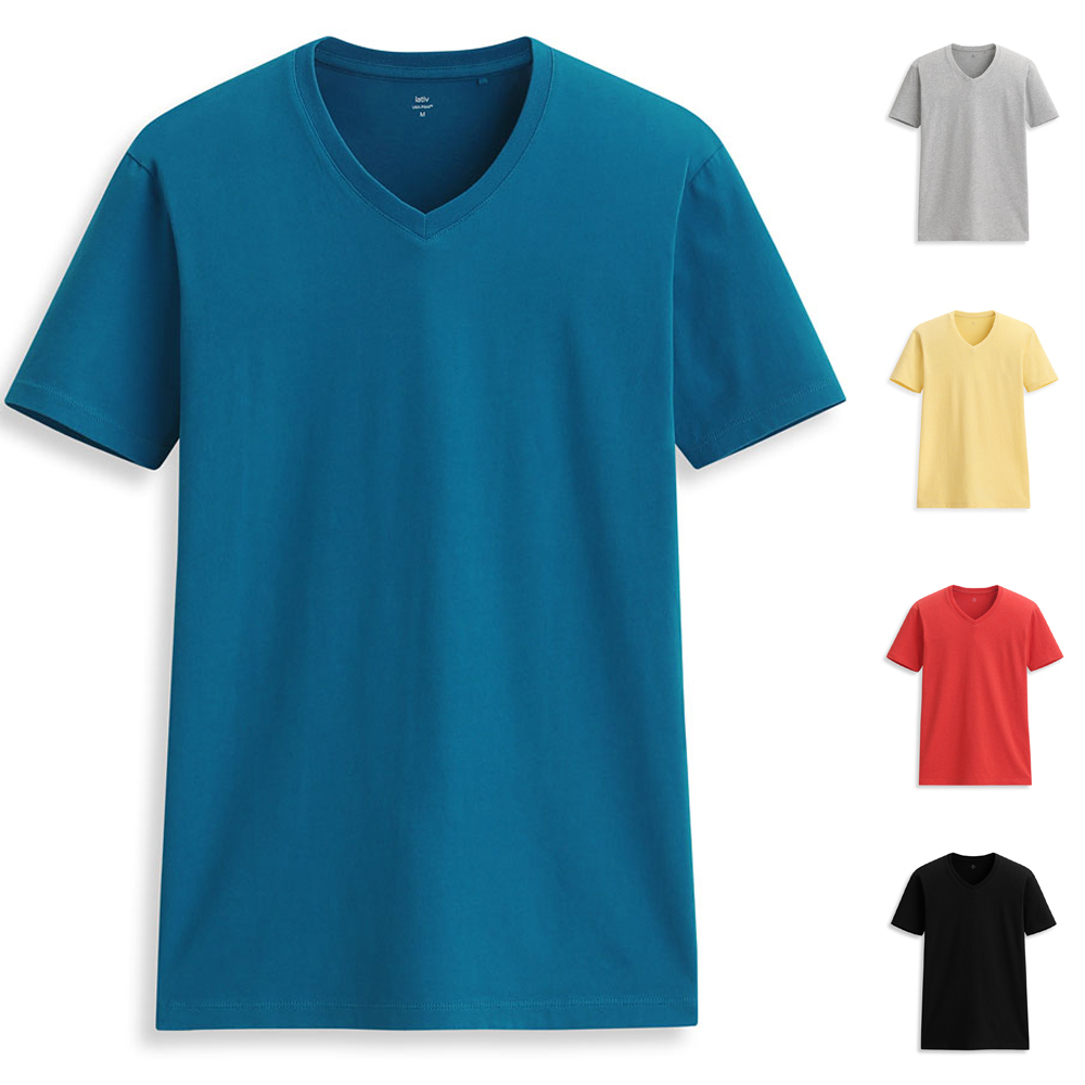 hot sale new 100% pima cotton deep v-neck tee shirts with logo men factory direct sale plain no brand black t shirt oversized