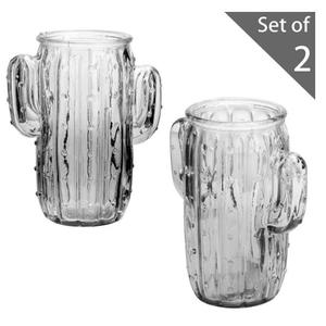 Set of 2 Tinted Glass Cactus Shaped Flower Vases