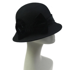 Ladies Black Stylish Wool Felt Songkok Cloche Winter Hat