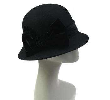 1f3d131ad88 Ladies Black Stylish Wool Felt Songkok Cloche Winter Hat - Buy ...