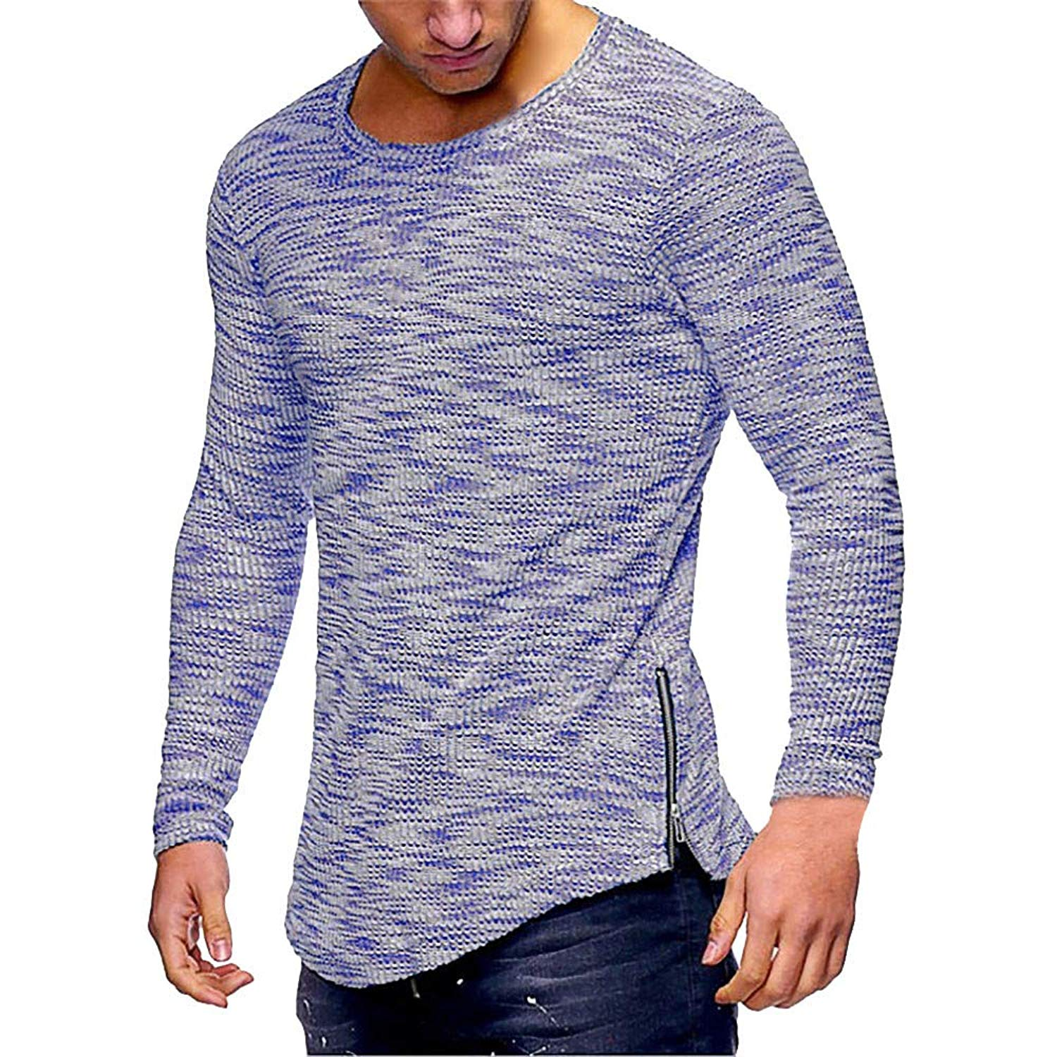 PHOTNO Mens Tee Shirts,Mens Long Sleeve Shirts Slim Fit Pullover Tops Blouse Zip Up Sport T Shirts for Men