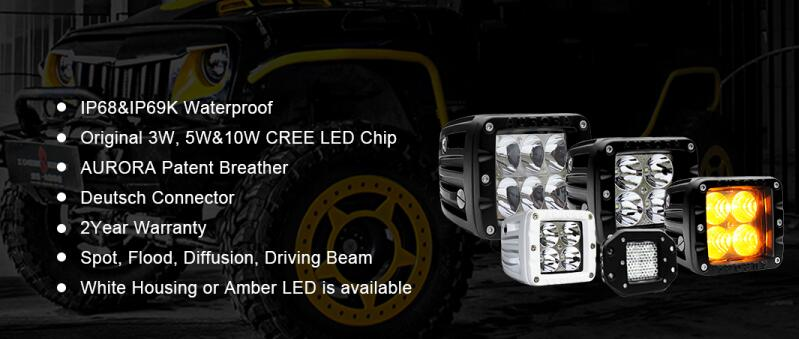 24v Aurora Waterproof 2 Inch Led Off-road Light