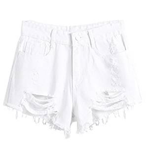 ee82555c79 Woman's Denim Shorts - TOOGOO(R)Woman's summer wind high waist denim shorts  women worn loose burr hole shorts, White L