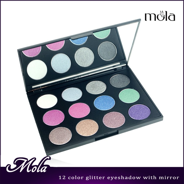 OEM products 12 color high glitter eyeshadow palette with mirror wholesale