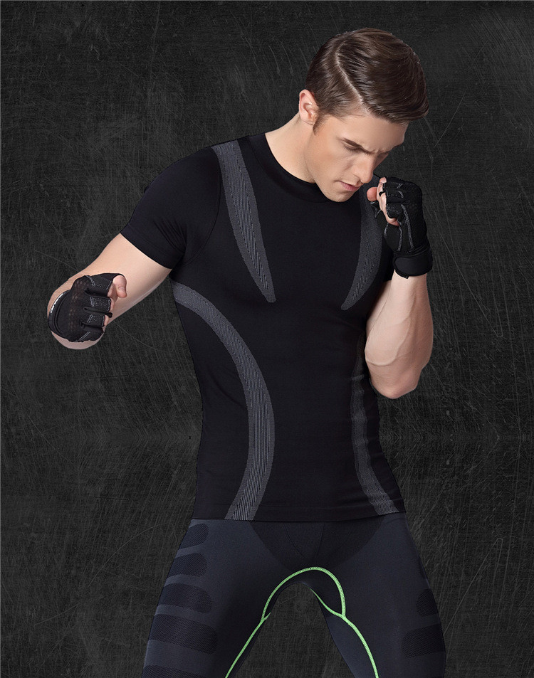 Customized Logo Men's Dry Fit  Workout Running Compression Muscle T-Shirt 12