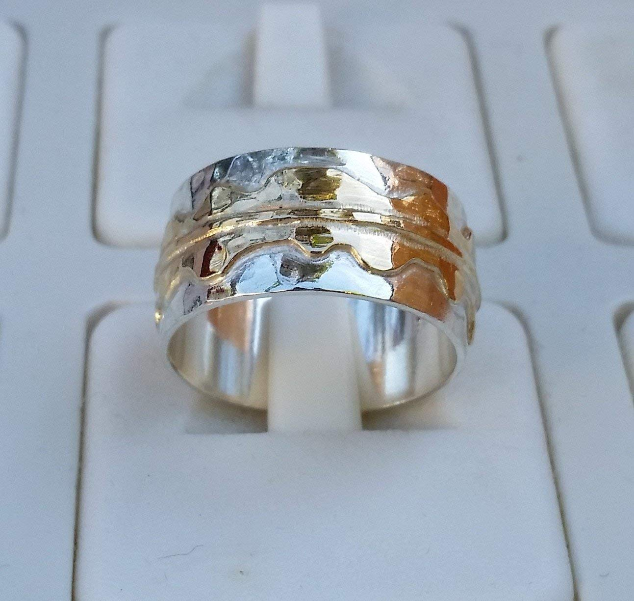 Wedding Ring Silver And Gold ,Handmade Wedding Band ,Sterling Silver Ring ,14K Gold Wedding Band ,Bridal Wedding Ring ,Hammered Wedding Band