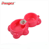 Newest design High Quality litter bear shape Plastic Pet double Bowl with water bottle