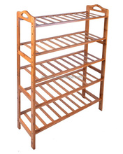 Spacious bamboo shoe rack shoe bench factory BSCI