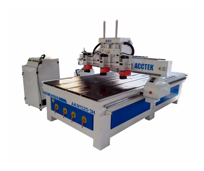 cnc router AKM1325 with 3 heads(spindles) for sale ! 5 axis dsp control