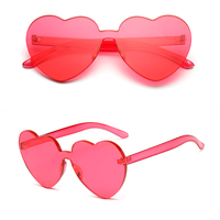 Women Rimless Frame Clear Lens ETEWEAR Love Heart Sunglasses