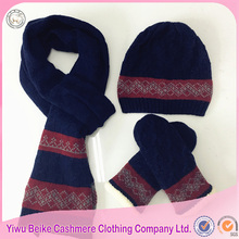 Man' winter customized knitted hat glove scarf set