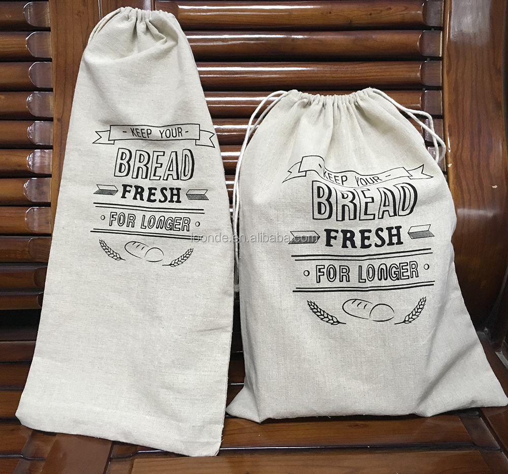 Homemade natural linen bread loaf packing bags