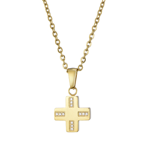Gold filled stainless steel rhinestone zircon inlaid cross pendant necklace jewelry
