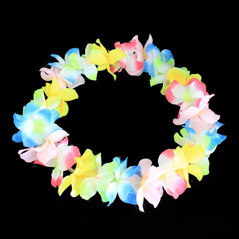 Hawaii Luau Party Led Glow Flower Neck Lei Headband Hula Garland Wreath Women Girl Glow Head Wear Wedding Christmas Halloween Festive & Party Supplies