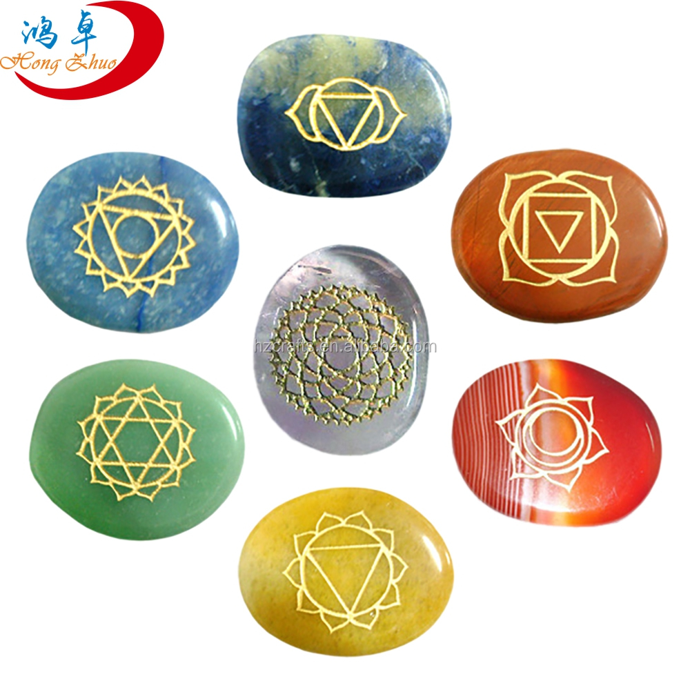 Wholesale Gemstone Pocket stone Palm Stones 7 Chakra Stone Set with words