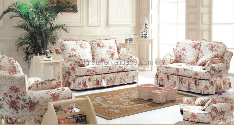 2017 Simple Design Pink Flower Fabric Sofa Set Was Made By Imported Rubber Wood Print