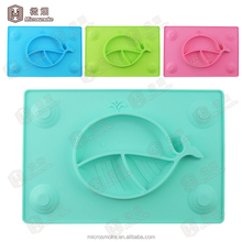 Plainum silicone Square Shape Little bits 3 divided dinner plate for children kids infant