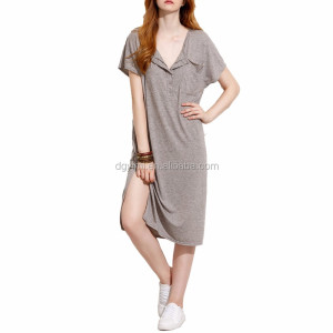 Grey Button Front Side Slit polo shirt Dress