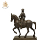 Life size design outdoor antique bronze horse statues with warrior NTBM-479A