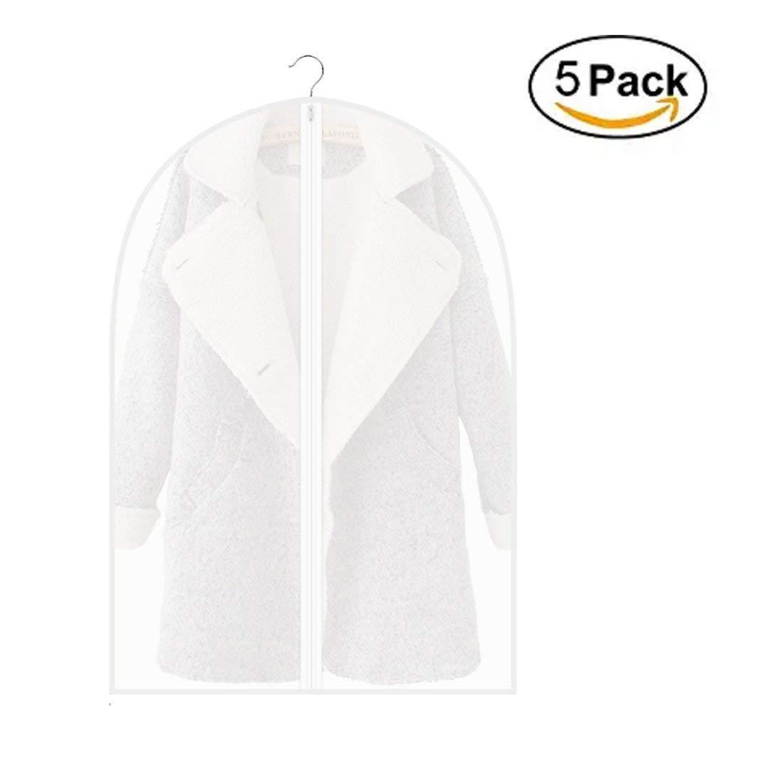 Garment Bag, Full Zipper Translucent PEVA Clothing Dust Cover Mildew, Waterproof Pack of 5