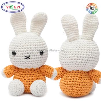 F440 Mini Bunny Crochet Doll Animal Handmade Stuffed Toy Rabbit