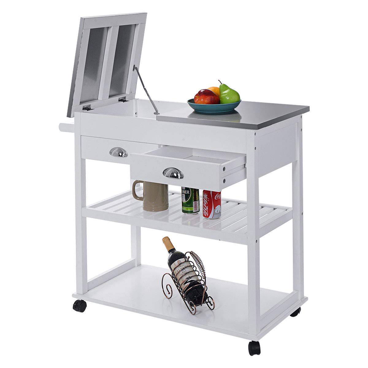 Cypressshop White Kitchen Rolling Trolley Carts Stainless Steel-Flip Top Kitchen Island with Drawers & Casters Home Cooking Tools Things Storage Organizer Furniture