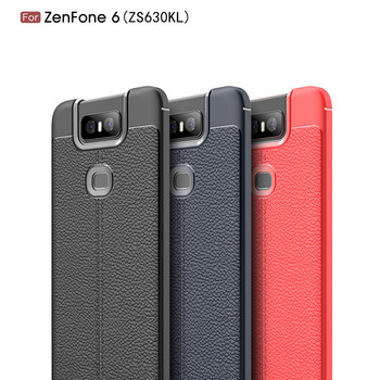 For Asus Zenfone 6 Lichi TPU Cover For ZS630KL Leather Pattern Case